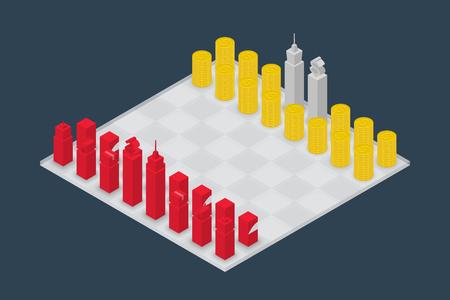 Business chess cube isometric 3d design set, Power of Money concept idea illustration isolated on dark blue background Illustration