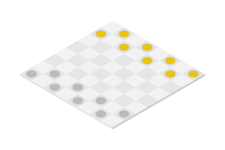 Business Checkers Game set, Dollar coin concept idea illustration isolated on white background Illustration