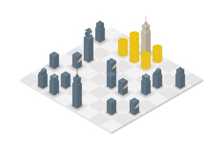 Business chess cube isometric 3d design set, Power of Money concept idea illustration isolated on white background Illustration