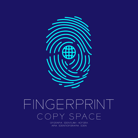 Fingerprint scan set with Network symbol concept idea illustration isolated on dark blue background, and Fingerprint text with copy space