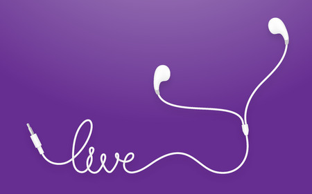 Earphones, Earbud type white color and live text made from cable isolated on violet gradient background, with copy space Illustration