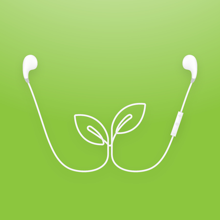 Earphones wireless and remote illustration. Illustration