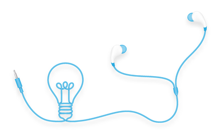 Earphones wireless and remote illustration. Illustration