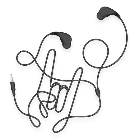 Earphones wireless and remote illustration with rock hand sign language made from cable.