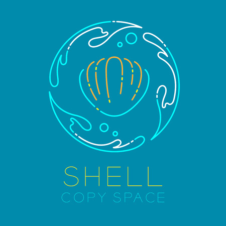 Shellfish, Water splash circle and Air bubble logo icon outline stroke set dash line design illustration isolated on blue background with Shell text and copy space