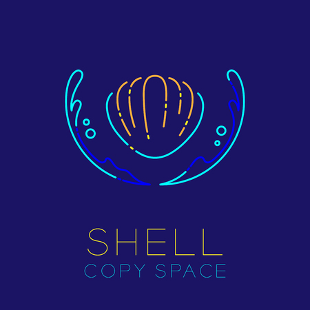 Shellfish, Water splash and Air bubble icon outline stroke set dash line design illustration isolated on dark blue background with Shell text and copy space Vectores