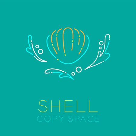 Shellfish, Water splash and Air bubble icon outline stroke set dash line design illustration isolated on green background with Shell text and copy space Illustration