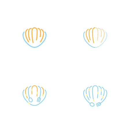 Shellfish icon outline stroke set dash line design illustration orange yellow and blue color isolated on white background, vector.