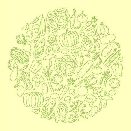 Vegetable kids hand drawing set pattern background circle shape illustration isolated on orange color background