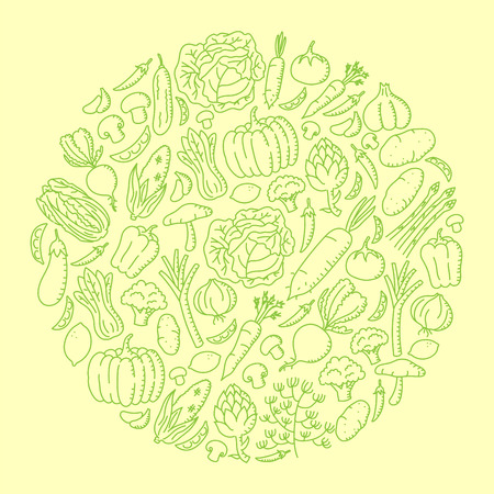 Vegetable kids hand drawing set pattern background circle shape illustration isolated on orange color background