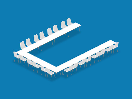 Meeting room setup layout configuration U Shape isometric style illustration, perspective 3d with shadow on blue color background Vettoriali