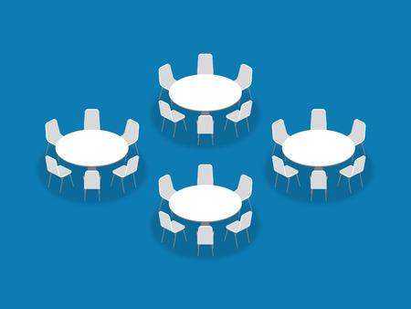 Isometrische Artillustration der Konferenzzimmerinstallationsplan-Konfigurations-Bankett-Runden, Perspektive 3d mit Schatten auf blauem Farbhintergrund