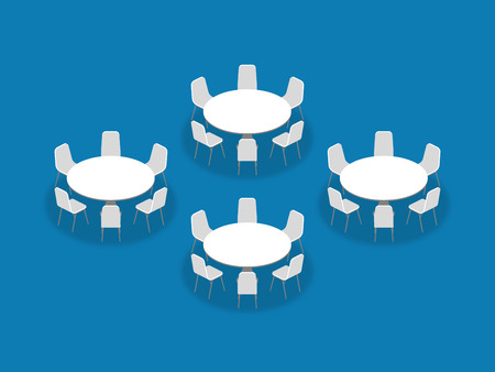 Meeting room setup layout configuration Banquet Rounds isometric style illustration, perspective 3d with shadow on blue color background