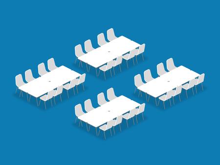 Illustrazione isometrica di stile di banchetto di configurazione della disposizione di impostazione della sala riunioni, prospettiva 3d con ombra sul fondo blu di colore