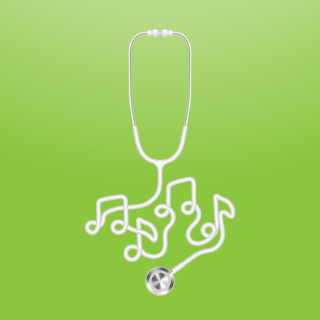 Stethoscope white color and music note sign symbol made from cable isolated on green gradient background, with copy space