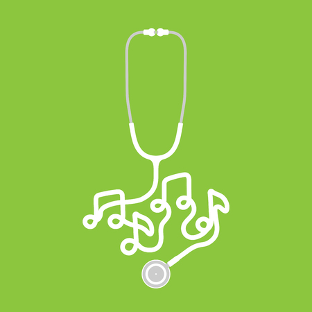 Stethoscope white color and music note sign symbol made from cable isolated on green background, with copy space