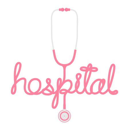 Stethoscope pink color and hospital text made from cable flat design isolated on white background, with copy space Illustration