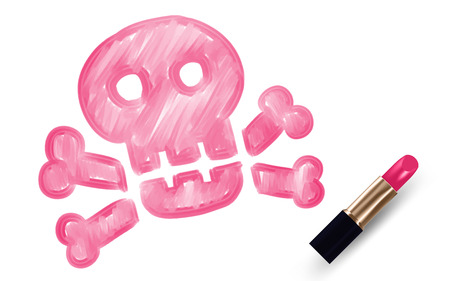 Skull and crossbones symbol write by Lipstick pink color isolated on white background, with copy space.