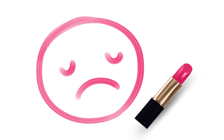 Sad face symbol write by Lipstick pink color isolated on white background, with copy space. Illustration