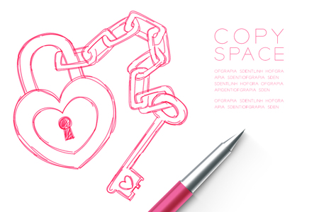 Heart lock and key chain love couple symbol hand drawing by pen sketch pink color. Valentine concept design illustration. Isolated on white background, with copy space.