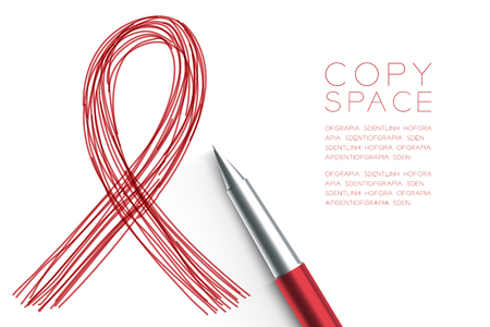 Red ribbon AIDS icon symbol hand drawing by pen sketch red color. Creative concept design illustration. Isolated on white background, with copy space.