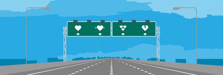 Autostrada o autostrada e segnaletica verde con il simbolo del cuore. Progettazione di massima del biglietto di S. Valentino nelle illustrazioni di giorno sul fondo del cielo blu, con lo spazio della copia.