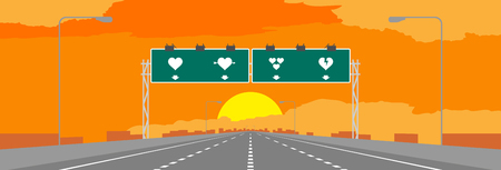 Highway or motorway and green signage with heart symbol. Valentine concept design in sunrise or sunset time illustrations on orange sky background, with copy space.