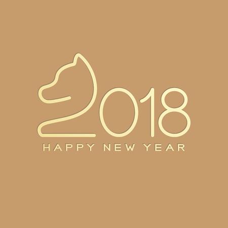 Gelukkig Chinees Nieuwjaar 2018 tekst, hond crouch lijn streekontwerp gouden kleur. Geïsoleerd op lichtbruine achtergrond met kopie ruimte. Stock Illustratie