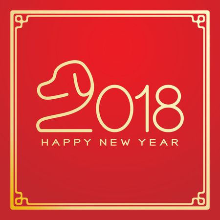 Happy Chinese New Year 2018 text, dog crouch line stroke design in Chinese frame gold color. Isolated on red gradient background with copy space.