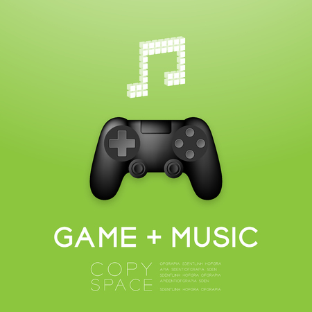 Game pad or joy pad black color with pixel music note symbol design illustration. Isolated on green gradient background, with copy space. Illustration