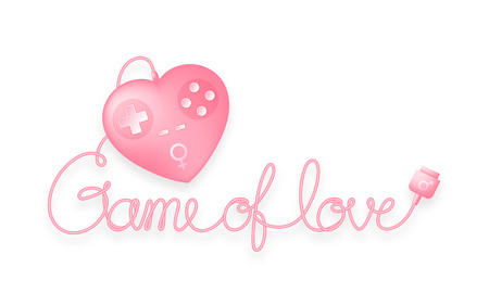 Game pad or joy pad heart shape pink color with male, female gender symbol and Game of love text made from cable, valentine concept design illustration. Isolated on white background, with copy space. Illustration