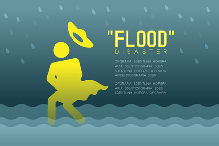 Flood disaster of woman icons pictogram with floppy hat design, info-graphic illustration. Isolated on dark gradient background, with flood disaster text and copy space. Illustration