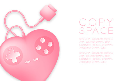 Gamepad or joypad heart shape pink color and Game of love concept design illustration isolated on white background, with copy space Illustration