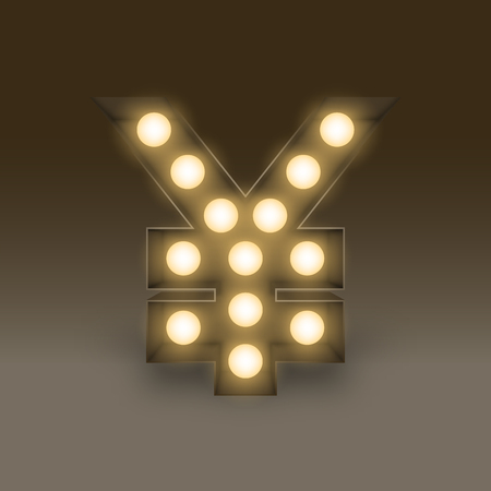 Symbol Incandescent light bulb box set Currency JPY (Japanese Yen) sign icon, illustration retro 3D style isolated glow in dark background.