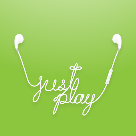 Earphones wireless and remote, earbud type white color and just play text made from cable isolated on green gradient background, with copy space.
