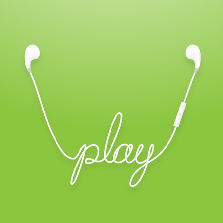 Earphones wireless and remote, earbud type white color and play text made from cable. Isolated on green gradient background, with copy space.