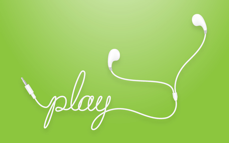 Earphones, earbud type white color and play text made from cable. Isolated on green gradient background, with copy space.