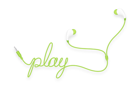 Earphones, in ear type green color and play text made from cable. Isolated on white background, with copy space.