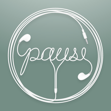 Earphones, earbud type white color and pause text with circle frame made from cable. Isolated on dark green gradient background, with copy space.