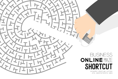 Shortcut business online maze or labyrinth at sign shape with businessman and eraser, design illustration. Isolated on white background, with copy space. Vector Illustration