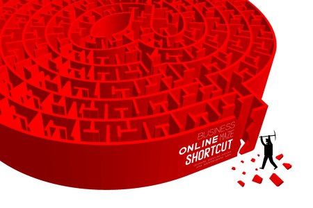 Shortcut business online Maze or labyrinth at sign shape with businessman and pick-ax digging. 3D design illustration, isolated on white background, with copy space. Illustration