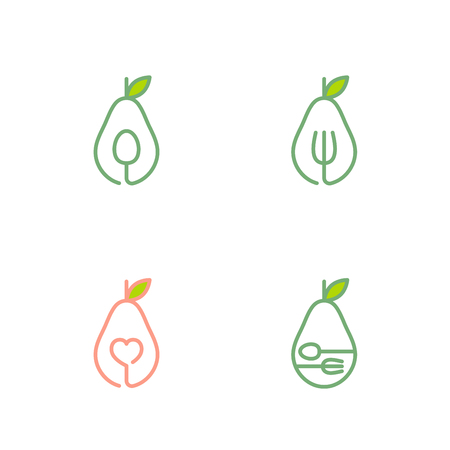 Avocado fruit icons outline stroke set design illustration. Isolated on white background, vector illustration.