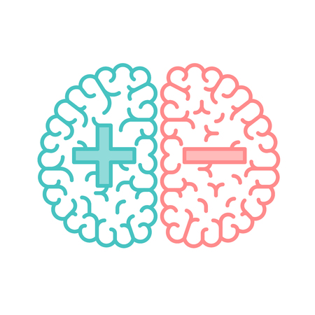 Left and Right Brain, Good and Bad concept outline stroke flat design with Plus and Minus symbol illustration isolated on white background with copy space