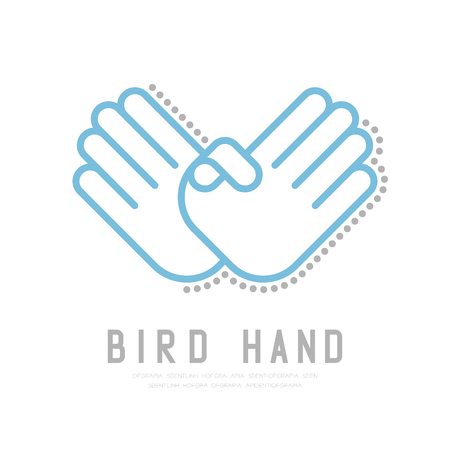 Bird Hand finger with dot shadow icon, sign language concept outline stroke flat design blue and grey color illustration isolated on white background