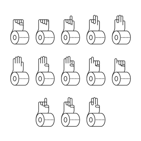 Hand finger counting number with tissue paper icons set sign language concept