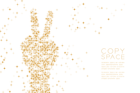 Abstract Shiny Star pattern Victory Hand shape, sign language concept design Gold color illustration isolated on white background with copy space, vector eps 10