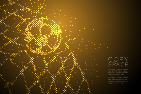 Abstract Geometric Circle dot pattern Football or Soccer ball in goal moment shape, Sport concept design gold color illustration isolated on brown gradient background with copy space, vector eps 10