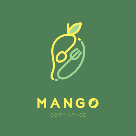 Mango fruit with spoon and fork icon set design illustration yellow color isolated on green background, vector eps10