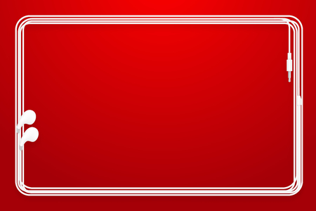 Earphones, Earbud type white color and rounded rectangle frame made from cable isolated on red gradient background, with copy space