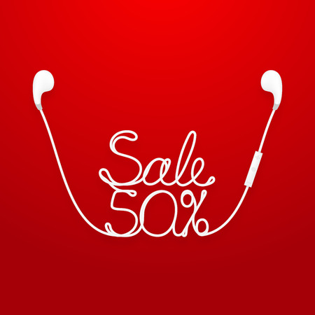 Earphones wireless and remote, earbud type white color and Sale 50 percent text made from cable isolated on red gradient background, with copy space
